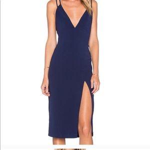Navy Blue Midi Dress from Revolve